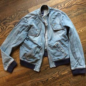 VEUC Gap Jean jacket w/ retro navy knit cuff/waist